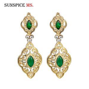 Sunspicems couleur or long Goutte Boucle d'oreille en Turquie Marque Design India Bijoux de mariage ethnique arabe traditionnel Bijoux cadeau