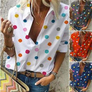 Color Polka Dot Women Blouses Long Sleeve Lapel Neck Loose Shirts Famale Spring Autumn Clothes