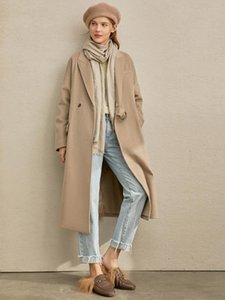 Amii Vintage Women Trench Coat Winter Women Casual Lapel Solid Pockets with Belt Loose Female Long Jackets 11970529