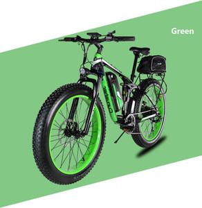 Cyrusher XF800 전기 자전거 더블 서스펜션 (7 개) 속도, 지방 타이어 eBike, 750W 48V, 스마트 컴퓨터 속도계 전기 자전거