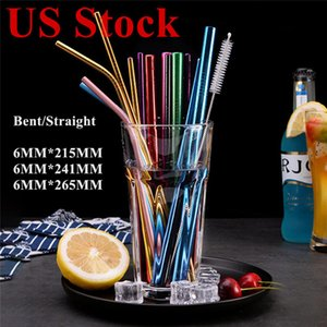 US Stock Stainless Steel Colored Drinking Straws Bent and Straight Reusable Metal Straws Tool Bar Family Kitchen for Beer Juice Drink Party
