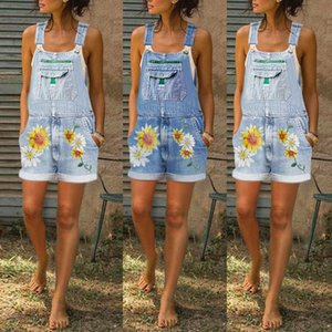 Women Summer Denim Pocket Overalls Jeans Shorts Jumpsuits Rompers Playsuit Casual Loose Rompers Sleeveless Streetwear Tracksuit