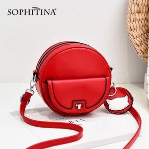 SOPHITINA Lässige Schultertasche Frauen Buckle Zipper Rund Silt Taschen-Japan-Art-Frauen Taschen Versatile Messenger E13