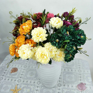 7 глав Шелковый Daisy хризантема Искусственные цветы свадебный букет Flores Свадебный цветок DIY Home Garden Party Decoration