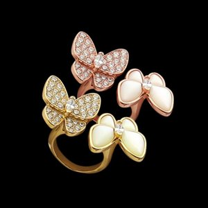Gold plate double butterfly white shell with drill opening ring for lady Fritillaria ring