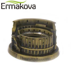 ERMAKOVA metal Coliseo Romano Coliseo italiana Figurita Estatua Modelo famoso punto de referencia de construcción Home Office Decor T200703