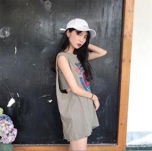 LUX ANGNER 2020 Summer Fashion Korean Style Student Sleeveless T-shirt Women Basketball Uniform Long Loose Printed Vest T-shirts