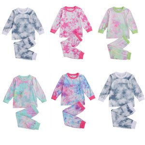 Autumn Children Kids Sleepwear Baby Pajamas Sets Baby Boys Tie-dye Print pyjamas Nightwear Girls Night Clothes Kids Clothing Set