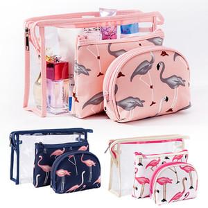 Retail Cosmetic Storage Bag Suit 3-Piece Set Flamingo pattern Portable Ladies Waterproof Transparent PVC Wash Bag Travel Package Hotel