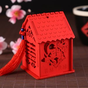 3 Style Creative Exquisite House Shape Wedding Candy Box Chinese Style Red Wooden Chocolate Candy Boxes Party Decoration LX0837