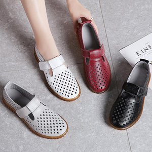 2020 Summer Lady Split Leather Pregnant Shoes Women Soft Sole Hollow Flat Shoes mother Loafers for Women Vintage Flats Z1968