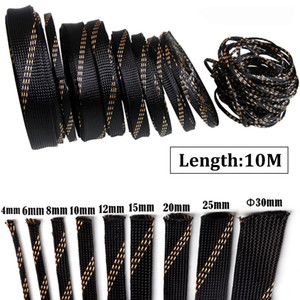 10M Insulation Braided Sleeves Black+Gold 4 6 8 10 12 15 20 25mm Wire Protection High Density Expandable Braided Sleeving Cable