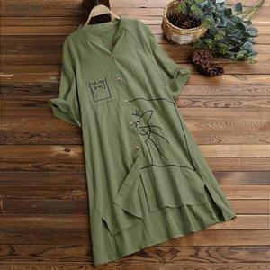Plus Size Blouse Women Fashion 2020 Loose Top Women Spring Clothes Linen Swing Vintage Pocket Cat Print Tops Shirt