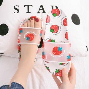 RhMHH Korean Fruit Strawberry home home indoor soft bottom anti-skid Children children slippers Sandals children's slippers parent-child Ko