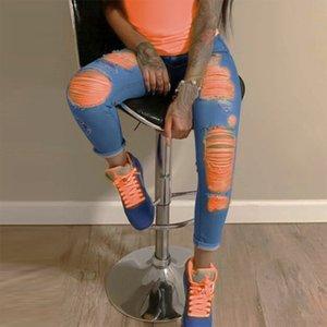 20SS Femmes Designer Jeans avec trou de mode style européen et américain femmes Streetwear Jeans Pantalons Hauts Pantalons Qualité Taille S-3XL