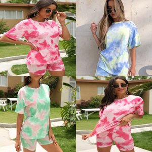 New Fashion Women Ladies Summer Sports 2 1Pcs Set Color Printing Round Neck Pullover Top And Tight Shorts Suit#843