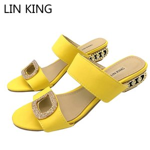 LIN KING New Big Size Summer Slippers Women Sandals Fashion Women Slides Lady Rhinestone Bohemia Shoes Square Heel Girl Slippers Y200619