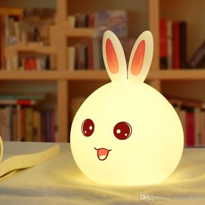 LED Cartoon Colorful Silicone Rabbit Night Light soft USB Rechargeable lamps Kids Baby Bedside Lamp Led Gift Lights For Children Friend