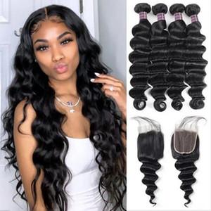 Allove humaine Bundles cheveux avec fermeture eau péruvienne cheveux en vrac vague profonde du corps Bouclés Raides Bonne qualité Cheap Human Hair Weave