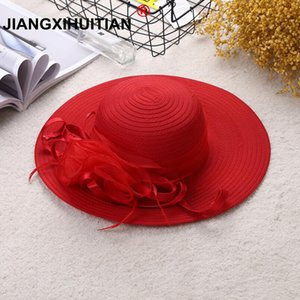 Mulheres Chapéu de Sol cetim Pena Verão Hat Mulheres Sólidos Aba larga Proteção UV Cap Beach Party Sun Kentucky Derby Wedding Church Hat Y200716