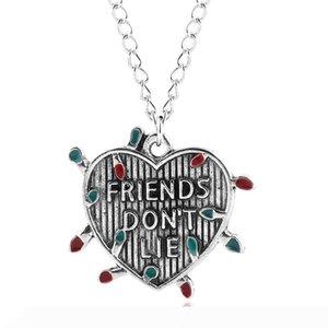 Friends Don't Lie Choker Necklace light bulb Letter Heart Pendant Necklace for Best friend Gift Jewelry