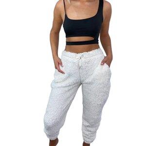 Los pantalones de pijama de felpa mullida del otoño de las mujeres calientes del invierno Fleece Pantalones de la ropa de noche Bottoms con bolsillos