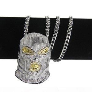D New Diamond -Encrusted Hip -Hop Counter -Terrorism Hood Pendant Men &#039 ;S Necklace Nightclub Bubble Bar Single -Fashioned Men &#03