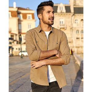 manga longa camisas homens masculina KUEGOU Marca cair casuais e confortáveis, camisas de moda masculina de algodão bordados BC-6876