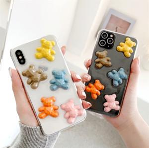 لطيف 3D غائر الدب حالة اللون كاندي للحصول على اي 11 حالة SE 6 7 8 زائد X XS الكرتون ماكس XR الكورية دمية الدب لينة غطاء الهاتف مسح