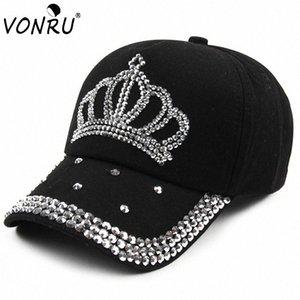 Großhandel VONRU New Crown Strass Baseballmützen Mode Jean Hip-Hop Hut Frauen-Denim-Baseballmütze Sonnenhut d2ol #