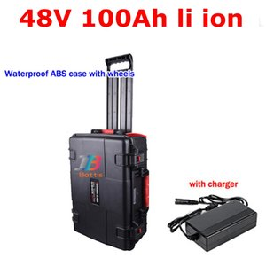 waterproof lithium ion 48V 100AH li BMS Wheeled trolley case for 7000w 5000w Tricycle Cleaning car scooter + 10A charger