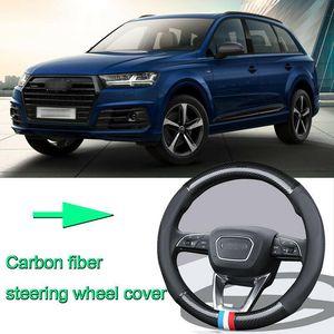 High Quality Car Non-slip black carbon fiber leather car steering wheel cover for Audi Q7