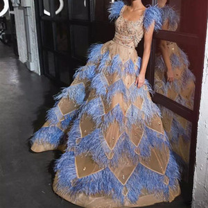 Luxury Feathers Evening Dresses With Square Collar Capped Beads Sequins Celebiry Prom Dress Dubai abiti da cerimonia Party Gowns
