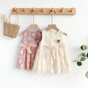 Kızlar Kore tarzı büyük yaprak net gazlı bez elbise, tatlı prenses elbisesi, feminen mizaç A2 işlemeli elbise