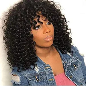 Curly Bang Wigs Human Hair Lace Front Brazilian Virgin Curly Wave Wig with Baby Hair Pre Plucked Natural Hairline Wig 150% Density