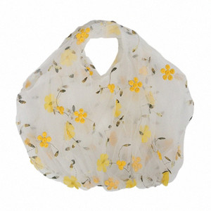 Women Mesh Tote Organza Embroidery Flowers Handbag Eco Yarn Cloth Bag Large Capacity Shopping Bag Purses For Girls 6pTe#