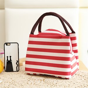 New Stripe Insulated Lunch Bag Fresh Cooler Thermal Food Storage Lunch Box Travel Picnic Tote Bags for Women Kids Bolsa Termica