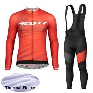 바지 레이싱 의류 자전거 의상 Y20080407에 맞게 턱받이 2020 SCOTT 팀 겨울 열 양털 사이클링 저지 긴 소매 자전거 셔츠를 설정