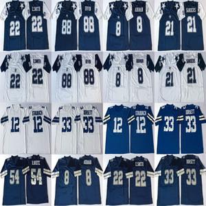 Troy Aikman Jersey 12 Roger Staubach Deion Sanders 22 Emmitt Smith, Tony Dorsett azul NCAA alta calidad retro del fútbol jerseys para hombre cosido