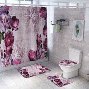 Bathroom Carpet Rug Bath Mat and Shower Curtain Set Bathroom Toilet Rug Floor Bath Mats Home Decor Shower Rugs Bathroom Mats T200624