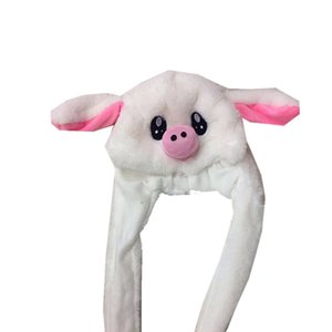 Moving Pig Hat Ear Move Hat Funny White Rabbit Hat Animal Winter Hats For Women Girls Kids