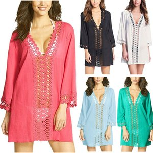 Sexy Lace Crochet Hollow Beach Blouse Women's Swimsuit Cover Up Solid Color Loose Beach Cover Ups