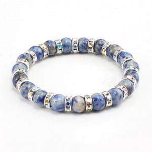 Charm Distance Bracelets Crystal Rhinestone Circle Retro Natural Stone Blue Beads Bracelet For Women Men Yoga Jewelry Gifts