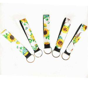 22 Bileklik Anahtarlık Çiçek Baskılı Anahtarlık Neopren Anahtarlık Bileklik Anahtarlık Parti Favor DHF116 Tasarımları