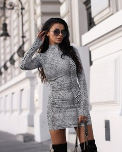 Snakeskin Leopard Slim Womens Dresses Spring Summer Long Sleeve Stand Neck Skinny Sexy Hot Sell Dress