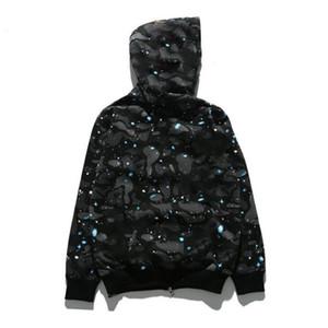 Moletom Com Capuz Tubarão Cabeça Camisola Moletom Moda Streetwear Hoodie Hip Hop Night Light Camuflagem Com Capuz Camisola Casaco M L XL 2XL