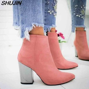SHUJIN Women Shoes Ankle Pumps Flock Toe Boots Solid Autumn Spring 2019 New High-heeled Shoes Botas Mujer Dropship Y200114