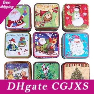 Noël Tinplate Bonbonnière forme carrée bonbons Cookie cadeau Boîte de rangement de Noël Père Noël bonhomme de neige de Bell Biscuits Can Box