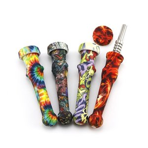 14mm Food Grade Silicone Mini Smoke Pipe With Titanium Nail Printed Nectar Collector Pipes Smoking Tools Of Glass Bongs Dab Rigs 18sl E1