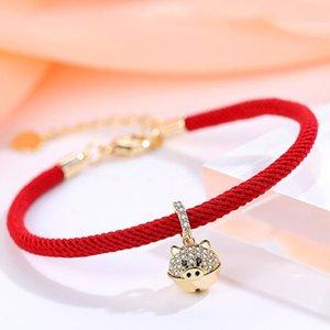 Nuovo 3D GOLD PIG Ciondolo Anno Bracciale del Fato rosso stringa braccialetto Chinese Zodiac monili fortunati regalo per le donne gli uomini